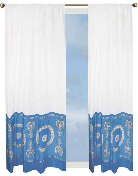 Aegean Winds curtain - blue & white