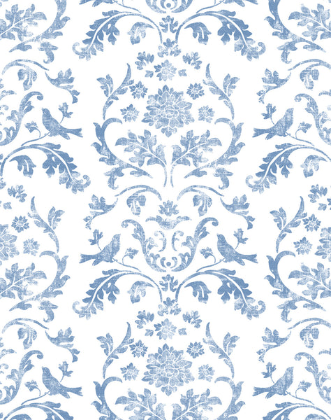 Air Brocade Wallpaper - Blue on white