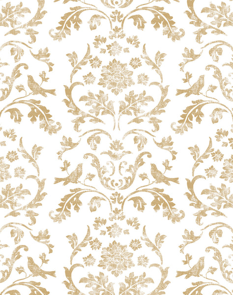 Air Brocade Wallpaper - antique gold