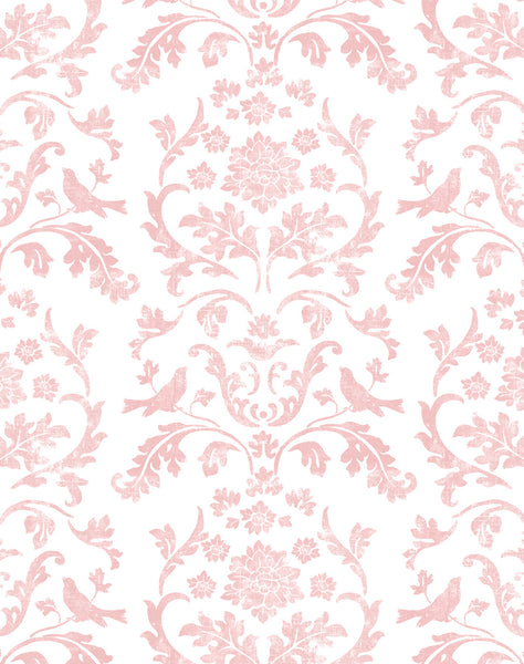 Air Brocade wallpaper - pink on off-white