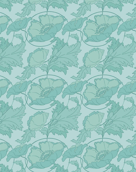 Poppy Swirl Wallpaper - Mint & Aqua
