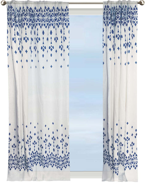 Au Bord de la Mer semi-sheer curtain - blue & off-white