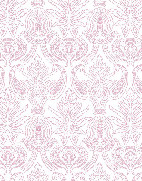 Brocade Nouveau Wallpaper - Pink & White