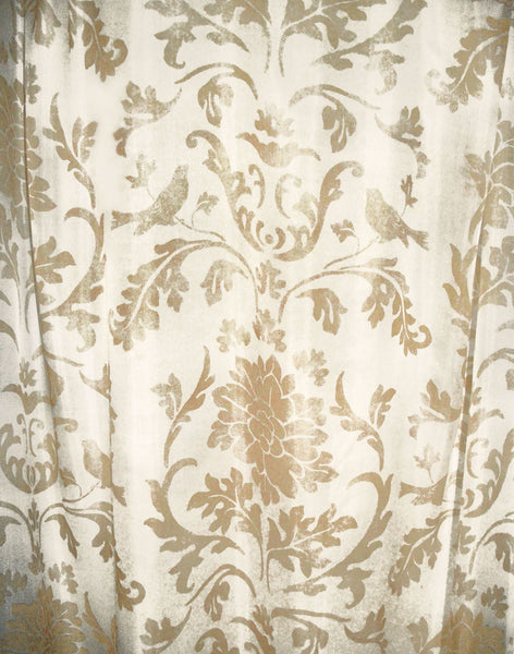 Air Brocade Curtain - Gold on Ivory