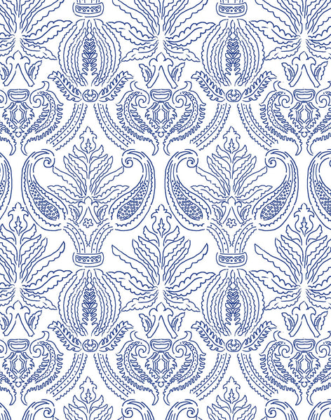 Brocade Nouveau wallpaper - lapis blue & white