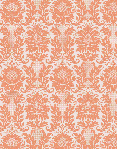 Brocade Retro Floral Wallpaper - coral
