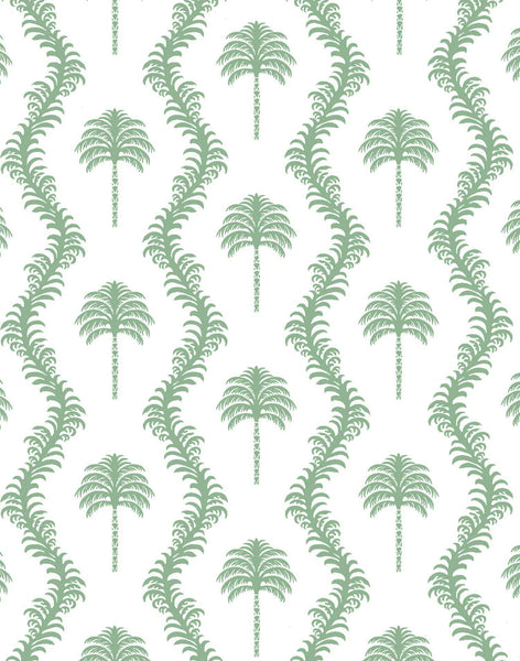 Caribbean Palm Fabric - Green on White