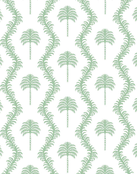 Caribbean Palm Wallpaper - Green on White