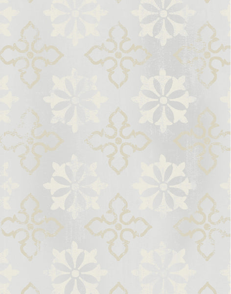 Cathedral Window Fabric - stone & off-white
