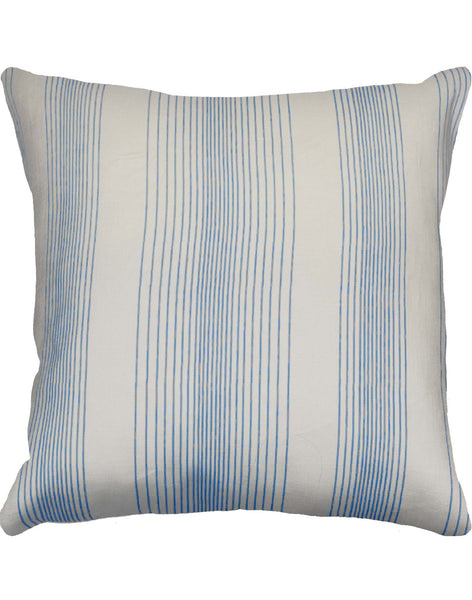 Blue Chambray stripe pillow on off-white