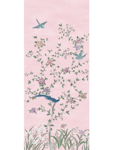 Chinois Blossoms Panel 2 Wallpaper - pink