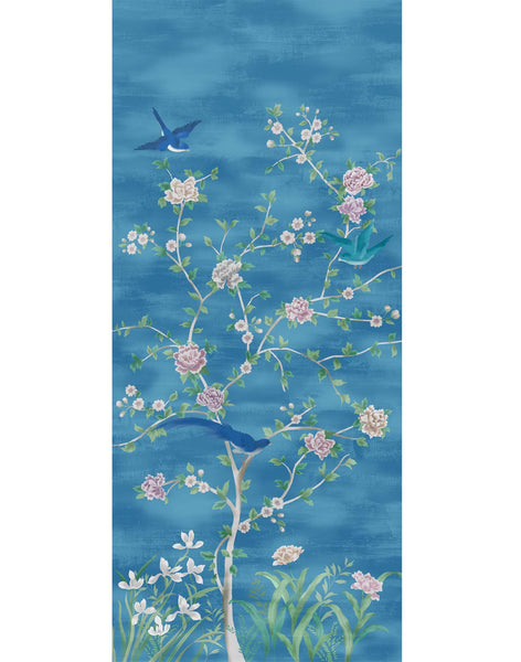 Chinois Blossoms Panel 2 Wallpaper - blue