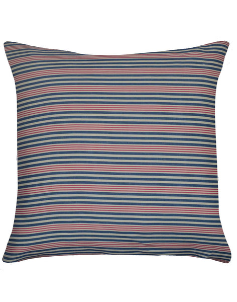 Mediterranean Stripe pillow - red and navy on linen