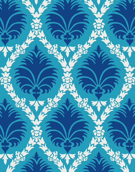 Deco Palm fabric - turquoise and blue