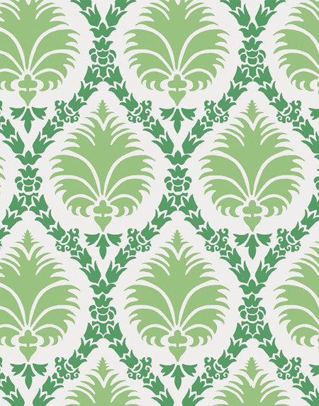 Deco Palm fabric - green & white