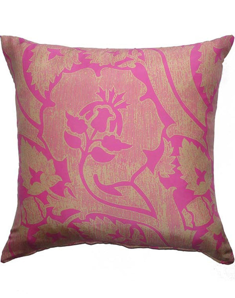 Diagonal Vine Pillow - Fushia & Gold