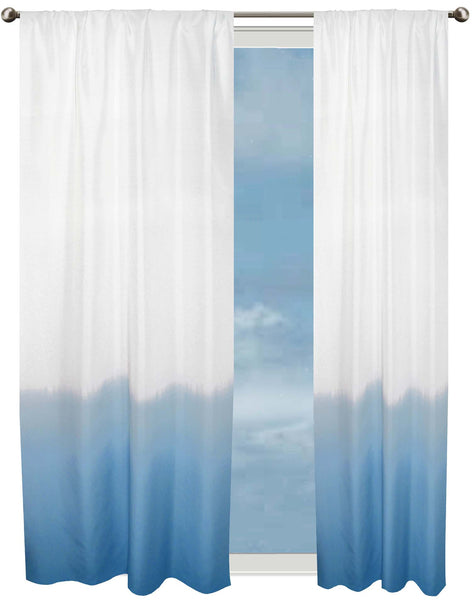 Dip Dye Border curtain - blue & off-white