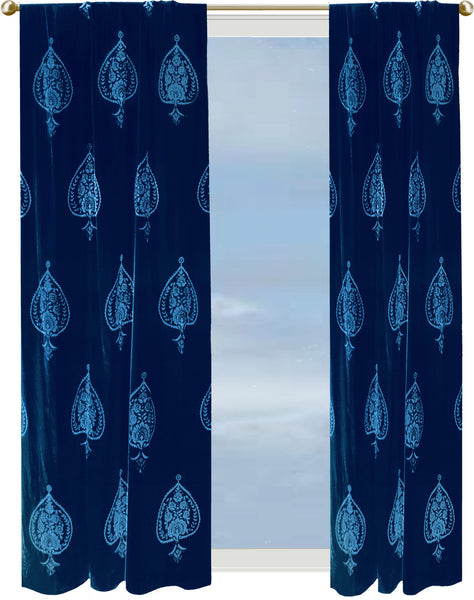 Dusk Lanterns curtain - dark blue velvet