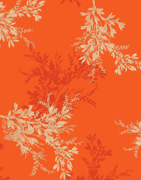 Feuille d'Or Fabric - Tangerine & Gold