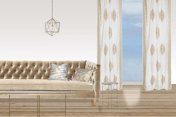 Meridian Lights curtain - gold on off-white