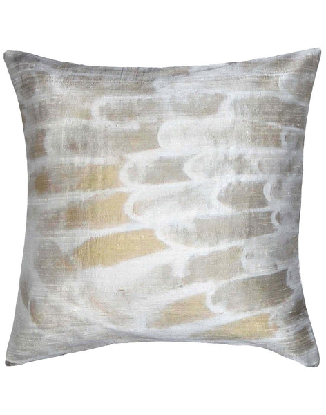 Flight Pillow - gold & silver on white