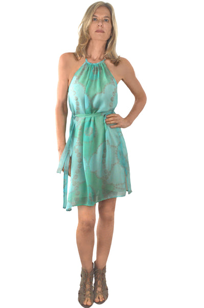 Flora Mini Tunic - aqua and green