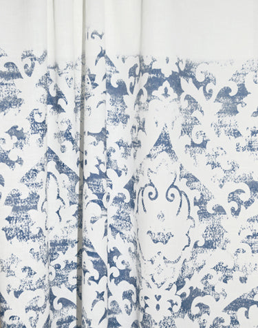 Floral Sky semi-sheer curtain - navy on white