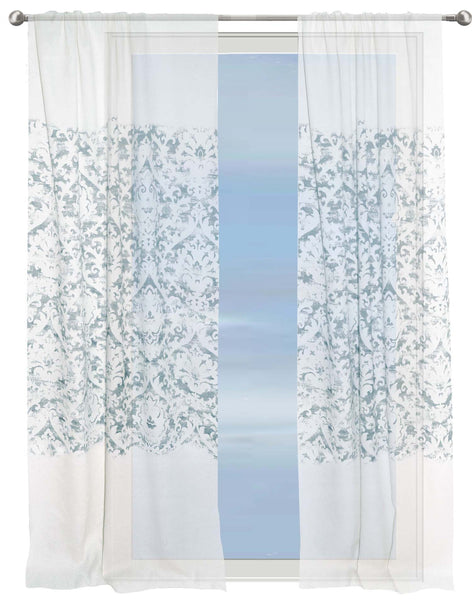 Floral Sky semi-sheer curtain - grey on white