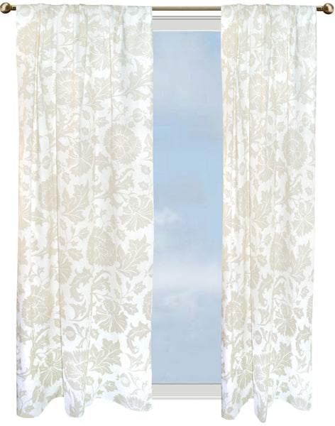 Floral Dance curtain - barley on off-white