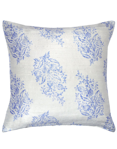 Indian Block Print - blue on white pillow