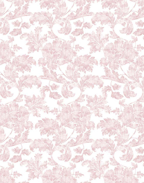 Floral Stencil Wallpaper - light pink on white