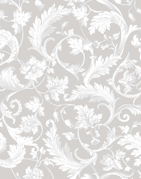 Four Seasons Wallpaper - grey & white