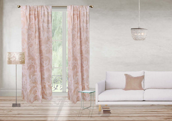 Four Seasons Curtain - pink & pale gold