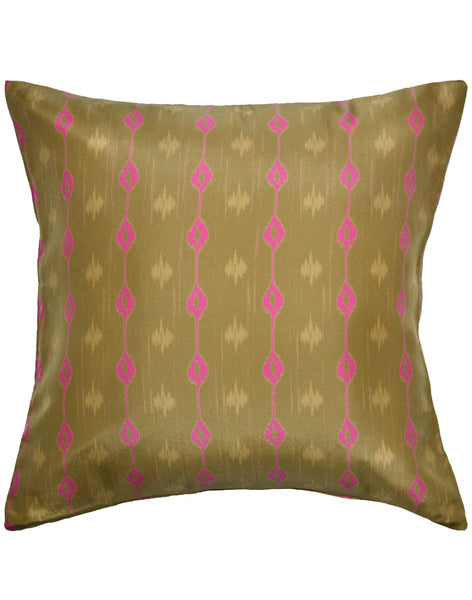 Diamond Stripe Pillow - olive & pink
