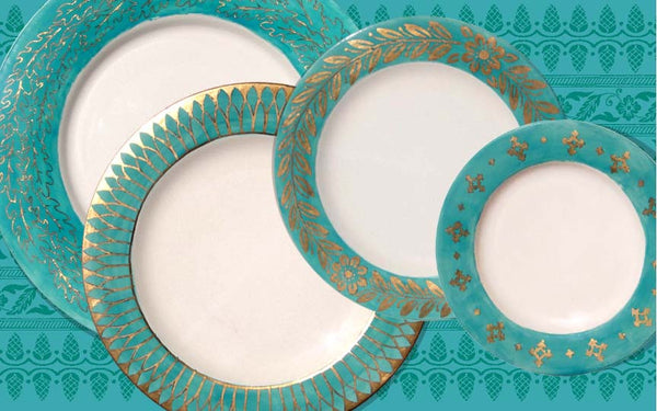 Golden Age Soup Plate - Gold & Aqua