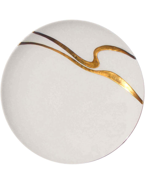 Golden Swirl Serving Plate  - gold on white