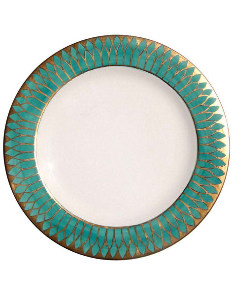 Golden Age Dinner Plate - Aqua & Gold