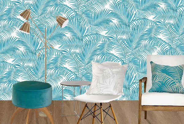 Majestic Palm Wallpaper - turquoise & white