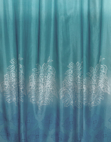 Ombre Indienne Border sheer curtain - jade & aqua
