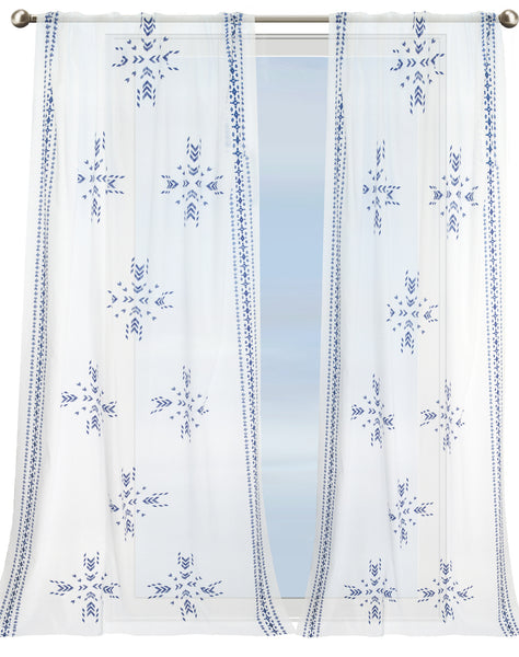 Island Breeze Curtain - blue & white