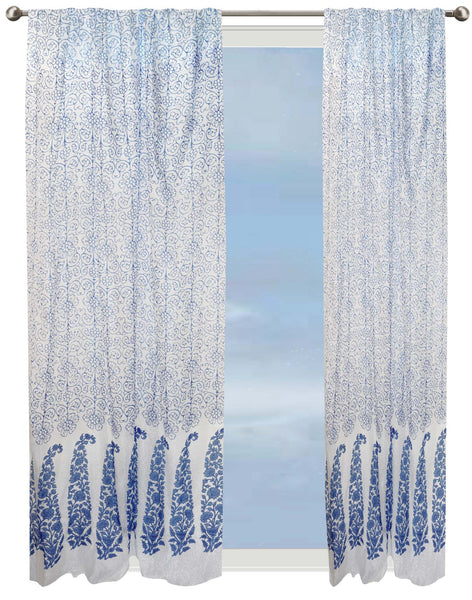 Lattice Floral Semi-sheer Curtain - Blue on White