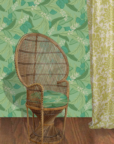 Calypso Leaf fabric - greens and neutrals