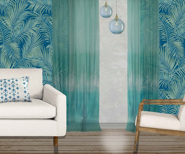 Majestic Palm Wallpaper - jade & green