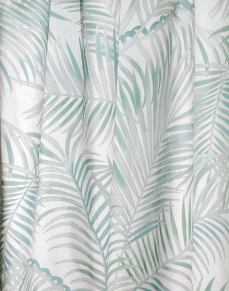 Majestic Palm Curtain - mint & grey on white