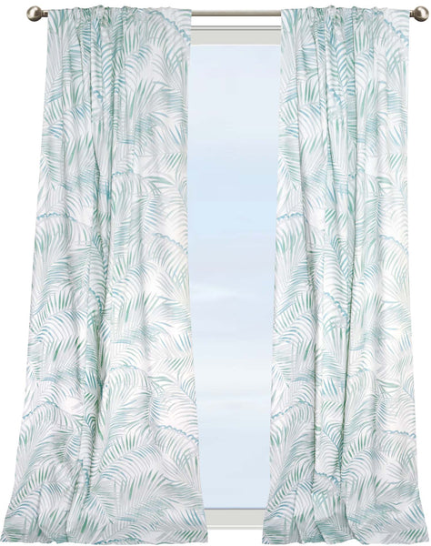 Majestic Palm Curtain - sage, aqua & grey on white