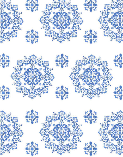 Marine Medallion Fabric - blue on white