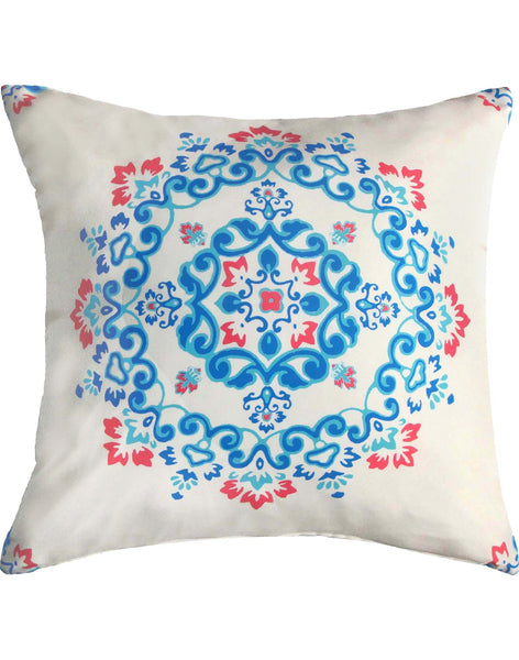 Marine Medallion Pillow - blue & red on off-white