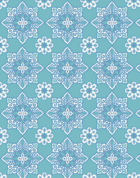 Moroccan Star Wallpaper - aqua & blue