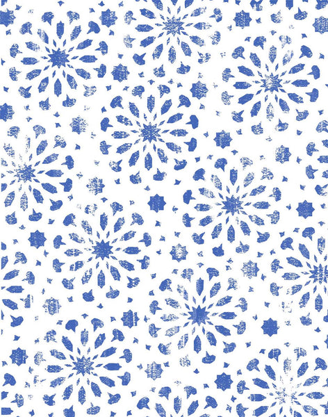 Moroccan Star Tile fabric - blue & off-white