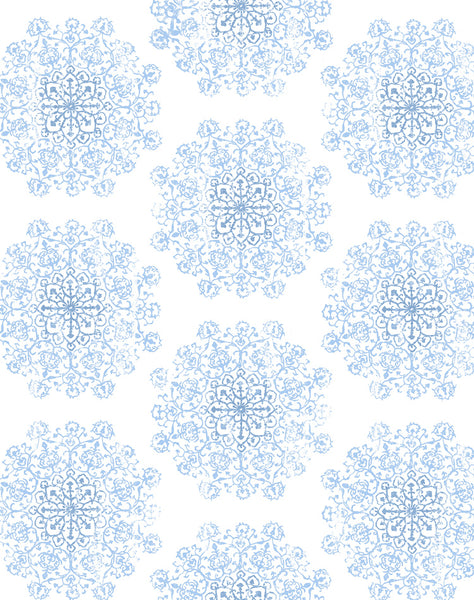 Star Medallion wallpaper - blue on off-white